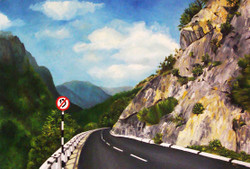 The Way - 36in X 24in (Stretcher Framed),ART_UABY02_3624,Oil Colors,Artist Uma Bairy,Greenery,Mountain,Way to Road - Buy Paintings Online in India
