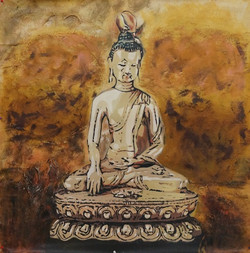 28Buddha21 - 32in X 32in,28Buddha21_3232,Yellow, Brown,80X80 Size,Buddha;Latest Collection Art Canvas Painting