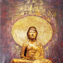 25Buddha59 - 32in X 32in,25Buddha59_3232,Yellow, Brown,80X80 Size,Buddha Art Canvas Painting