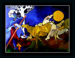 Krishna A Cowherd - 27in X 21in (Border Framed),ART_PHME19_2721,Artist Paresh More,LOrd Krishna,Gopal - Buy Online painting in india