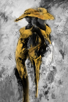 31Gold74  - 24in X 36in,31Gold74 _2436,Oil Colors,Canvas,Two girls with hat standing,golden girls,Silver Background,Abstract girls,Museum Quality - 100% Handpainted,Black, Dark Shades,60X90 Size,Gold and Silver Art Canvas Painting Buy canvas art pain