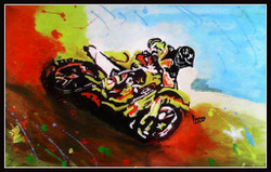 Racing Bike - 22in X 16in (Border Framed),ART_PHME22_2216,Artist Paresh More,Moto Racer Bike - Buy Online painting in india