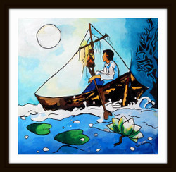 Boy At Sea - 22in X 21in (Border Framed),ART_PHME32_2221,Artist Paresh More,Boy at Sea,Sea Shore,Boat,Ship - Buy Online painting in india