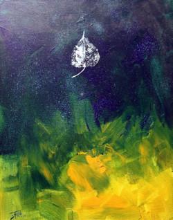 Leaf Art - 16in  X 20in (Canvas Board),ART_PDDE03_1620,Acrylic Colors,Leaf Alone,Tree,Artist Prasad Dabke - Buy Paintings Online in India