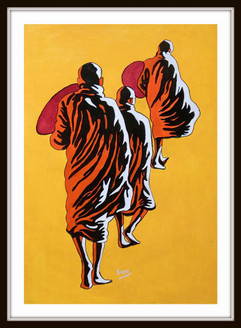 Buddha Monk - 19in X 23in (Border Framed),ART_PHME35_1923,Artist Paresh More,Buddha Monk - Buy Online painting in india