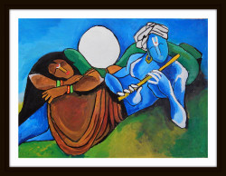Divine Couple - 21in X 16in (Border Framed),ART_PHME37_2116,Artist Paresh More,Figurative,Couple - Buy Online painting in india