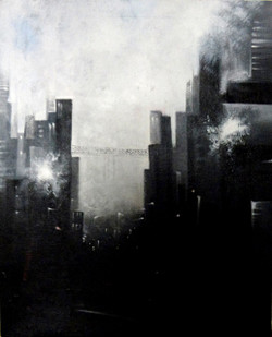 Landscape Art 6 - 16in X 20in,ART_KAPL88_1620,Kankana Paul,Museum Quality - 100% Handpainted Abstract City ,building- Buy Paintings online in india