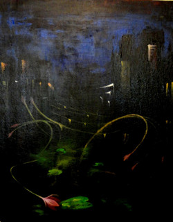 Landscape Art 7 - 16in X 20in,ART_KAPL89_1620,Kankana Paul,Museum Quality - 100% Handpainted Abstract City ,building- Buy Paintings online in india