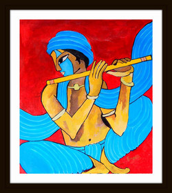 Krishna Basari - 14in X 15in (Border Framed),ART_PHME42_1415,Artist Paresh More - Buy Online painting in india