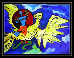 Lord Shri Vishnu - 30in X 24in (Border Framed),ART_PHME54_3024,Artist Paresh More,Lord vishnu,vishnu,paintings of lord vishnu, Buy Online painting in india