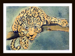 Leo - 25in X 18in (Border Framed),ART_PHME48_2518,Artist Paresh More, leo,lion cheetah,wild life paintings, Buy Online painting in india