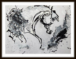 Horse 01 - 22in X 18in (Border Framed),ART_PHME49_2218,Artist Paresh More,horse,horses,abstract paintings of horses,horse paintings, Buy Online painting in india
