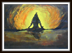 Meditating Lord Shiva - 17in X 12in (Border Framed),ART_PHME52_1712,Artist Paresh More,Lord Shiva,shiva,paintings of lord shiva, Buy Online painting in india