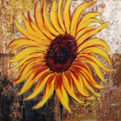 Sunflower - 24in X 24in,31SUNFLOWER30_2424,Yellow, Brown,Rs.1890,Florals;Latest Collection;By Orientation and Size/Square/Small (18in to 24in);Full Collection