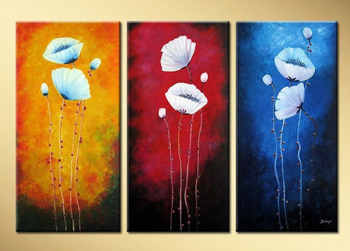 flower, abstract, three flowers, red,blue, yellow, bunch of flowers