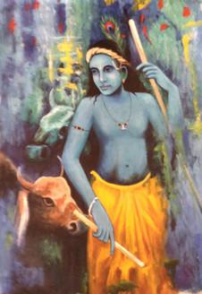 krishna ,lord krishna, krishna with cow, stick, cow,blue