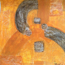 abstract, orange, strokes