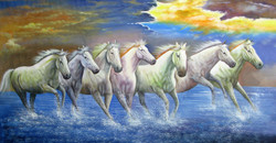 horse, horsee, many horsee, 6 horses, group of horses, running horses, water, horses in water