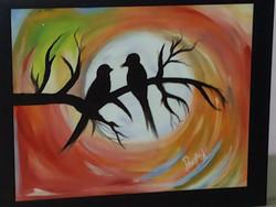 Love Birds - Handpainted Art Painting - 22in X 18in (Border Framed)