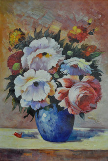 Blue Vase - Handpainted Art Painting - 24in X 36in
