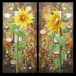 28GRP135 - 32in X 32in (16in X 32in each X 2 pcs.),Sunflower,Floral,28GRP135_3232,Canvas,Oil Colors,Yellow, Brown,Rs.3990,Florals;Multi Piece;Latest Collection;By Orientation and Size/Square/Medium (25in to 32in);Full Collection,Community Artists Gro