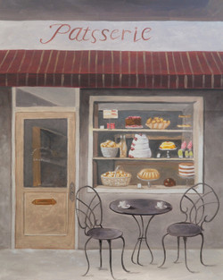 cake, cake shop, bakery, france, french, chair, landscape, cityscape, shop by the road