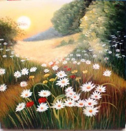 White Flowers Landscape - Handpainted Art Painting - 36in X 36in