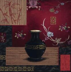 Antique Vase,Red Background ,Black Color vase,Floral Design,Floral Pattern