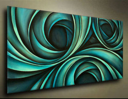 Wavy Abstract - Handpainted Art Painting - 48in X 24in