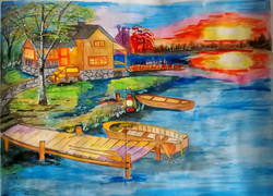 landscape, cottage, house, sun, house near river, tree, boat, boat near house