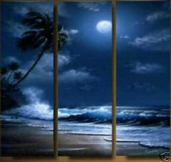 sea, night, sea at night, tides, moon, tree, waves