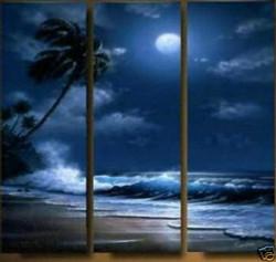 sea, night, sea at night, tides, moon, tree, waves