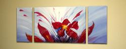 Flower, flower, red flower, splash, blue, red flower  with blue background
