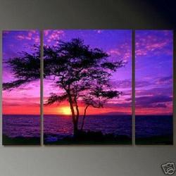 multi piece tree, blossom tree, tree of blossoms, , flower, tree, red ,beach, sea, tree on the beach, sun, sunset, tree by the sea , tree with sunset