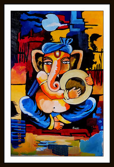 ganesha , lord ganapati, ganesha with musical instruments,music, musical instrumnents