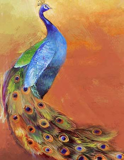 71Animal40 - 24in X 32in,71Animal40_2432,Pecock,Bird,National Bird,Blue, Violet, Mauve,Rs.3190,Latest Collection;Equestrian Art and Wildlife;By Orientation and Size/Vertical/Medium (25in to 32in);Full Collection,Museum Quality - 100% Handpainted