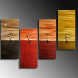 abstract, tree, sun, moon, one tree, lonely tree, abstract tree, mutipiece tree