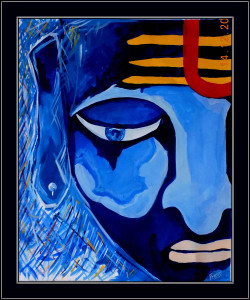Lord shiva, shiv, blue, abstract shiva, abstract lord shiva