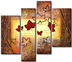 abstract, golden, golden abstract, leaves, red leaves, multi piece abstract
