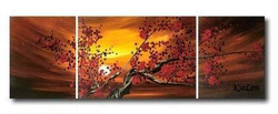 tree, trees, red flower, tree with red flower, sunset, tree at sunset, tree at sunrise