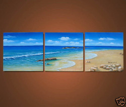 beach, sun, sand, sandy beach, waves, multi piece beach, multi piece beach pianting