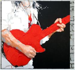 Guitar,Boy Playing Guitar,Music,Red Guitar,White Shirt,Black Background