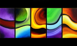 Mega Flow - 60in X 24in (12in x 24in x 5pcs.),RTCS_58_6024,Oil Colors,Multipiece,Canvas,Abstract,Multi-color - Buy Canvas Painting Online in India.