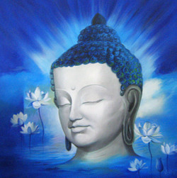 buddha, guatam buddha, buddha painting, siddhart, gautam, blue buddha , buddha with flowers, white flowers