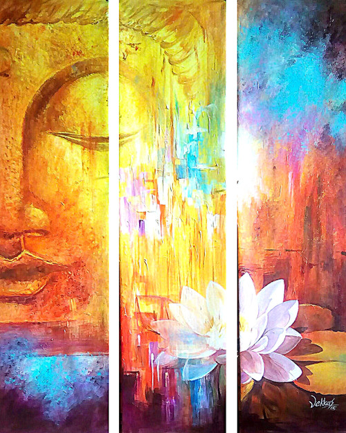 Buy multipiece buddha by vekkas mahalley rs 11490 code for Buy mural paintings online