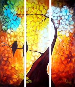 Landscape,Multipiece,Tree,Flowers,Birds