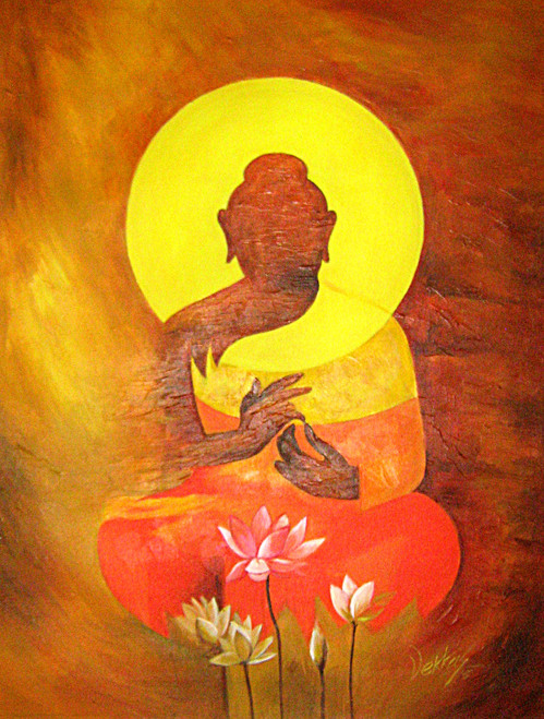 Buddha Lord Abstract The Enlightened Gautam With Flowers