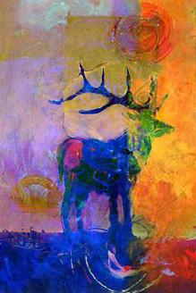 deer, multi colored deer, multi color deer, blue, abstract deer