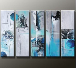 Power of 5 - 60in X 36in (12in x 36in each x 5pcs.) ,RTCS_53_6036,Oil Colors,Community Artists Group,Museum Quality - 100% Handpainted,Abstract,Multipiece,Blue Background - Buy Painting Online in India.