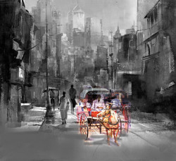 man, city, cityscape, horse, horse cart, man with horse, man in city, day in city,black and white